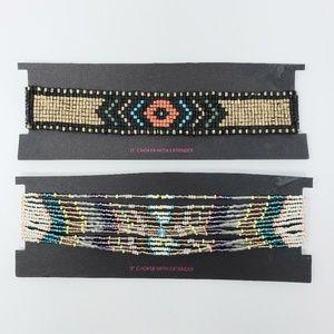 Lot of 2 Beaded Choker Necklaces Aztec Boho
